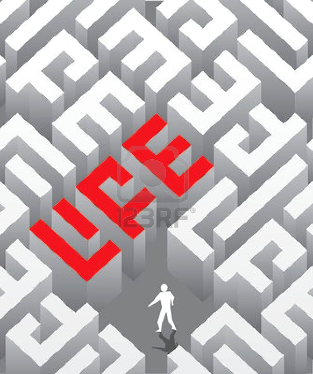 vier bilder ein wort labyrinth kugel